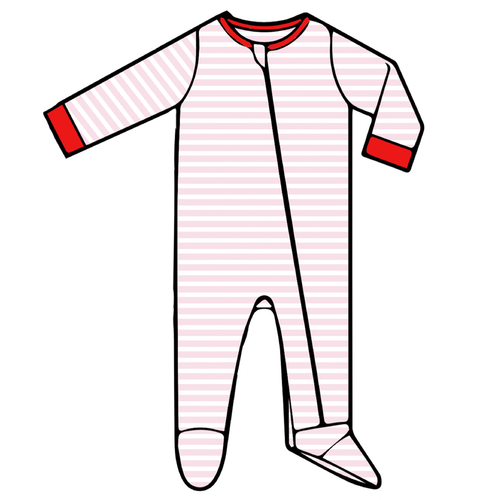 Baby Footed Romper - Pink Stripe - 2021 Christmas Collection Pre-Order