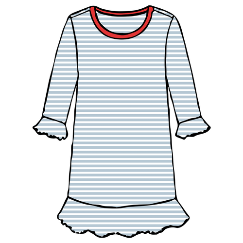 Girls A-Line Dress - Blue Stripe - 2021 Christmas Collection Pre-Order