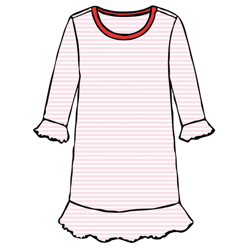 Girls A-Line Dress - Pink Stripe - 2021 Christmas Collection Pre-Order