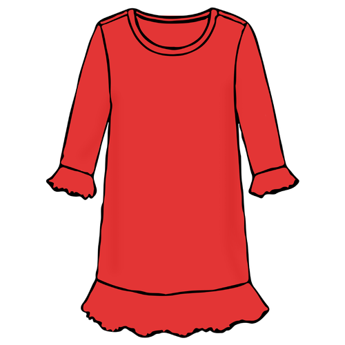 Girls A-Line Dress - Solid Red - 2021 Christmas Collection Pre-Order