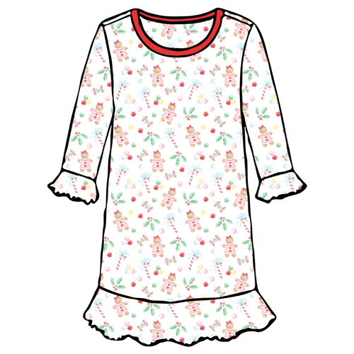 Girls A-Line Dress - Gingerbread Girl - 2021 Christmas Collection Pre-Order