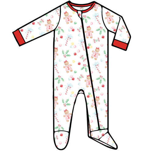 Baby Footed Romper - Gingerbread Girl - 2021 Christmas Collection Pre-Order