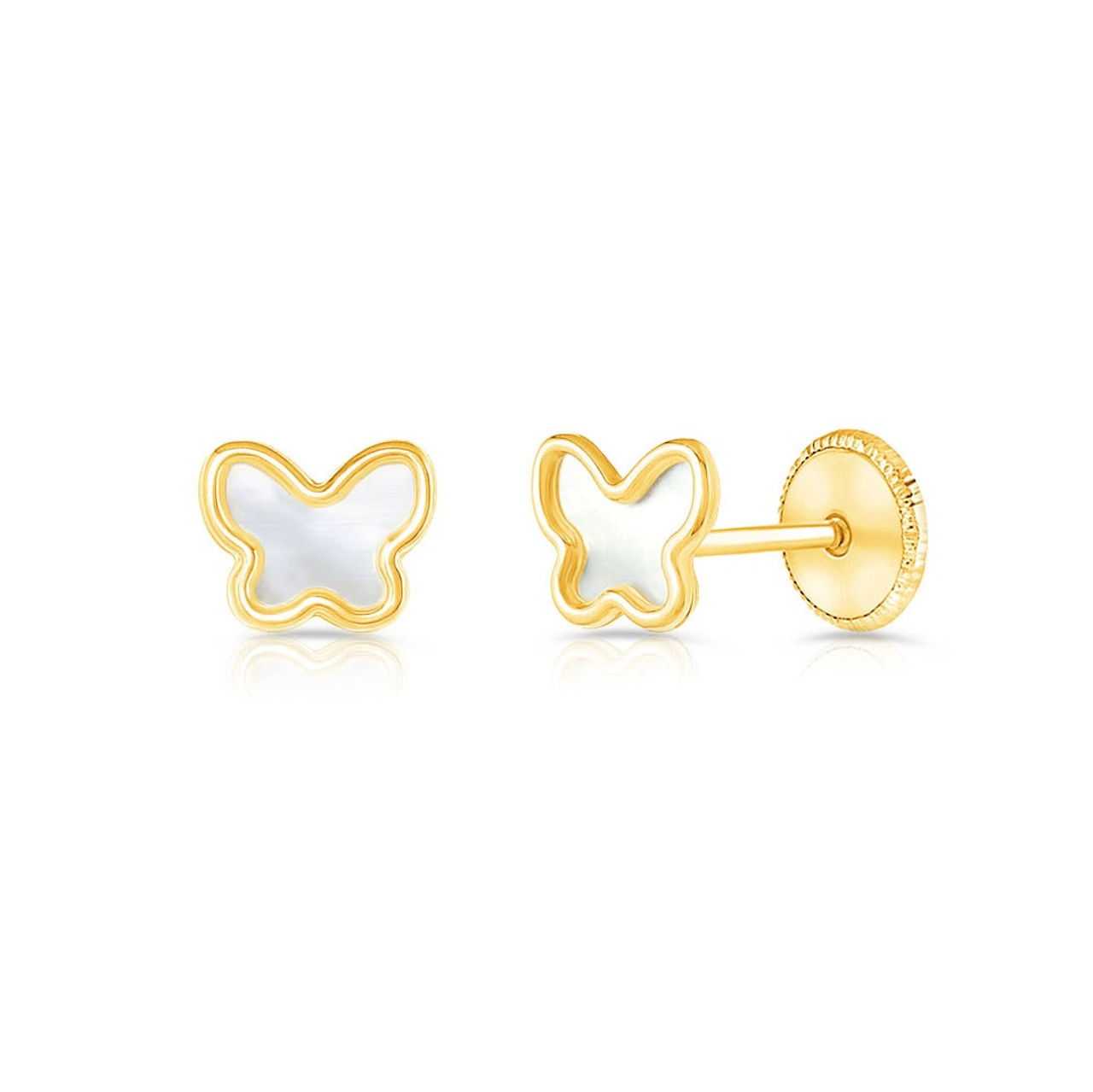 Mini Butterfly Baby Earrings With Safety Backs 14k Gold