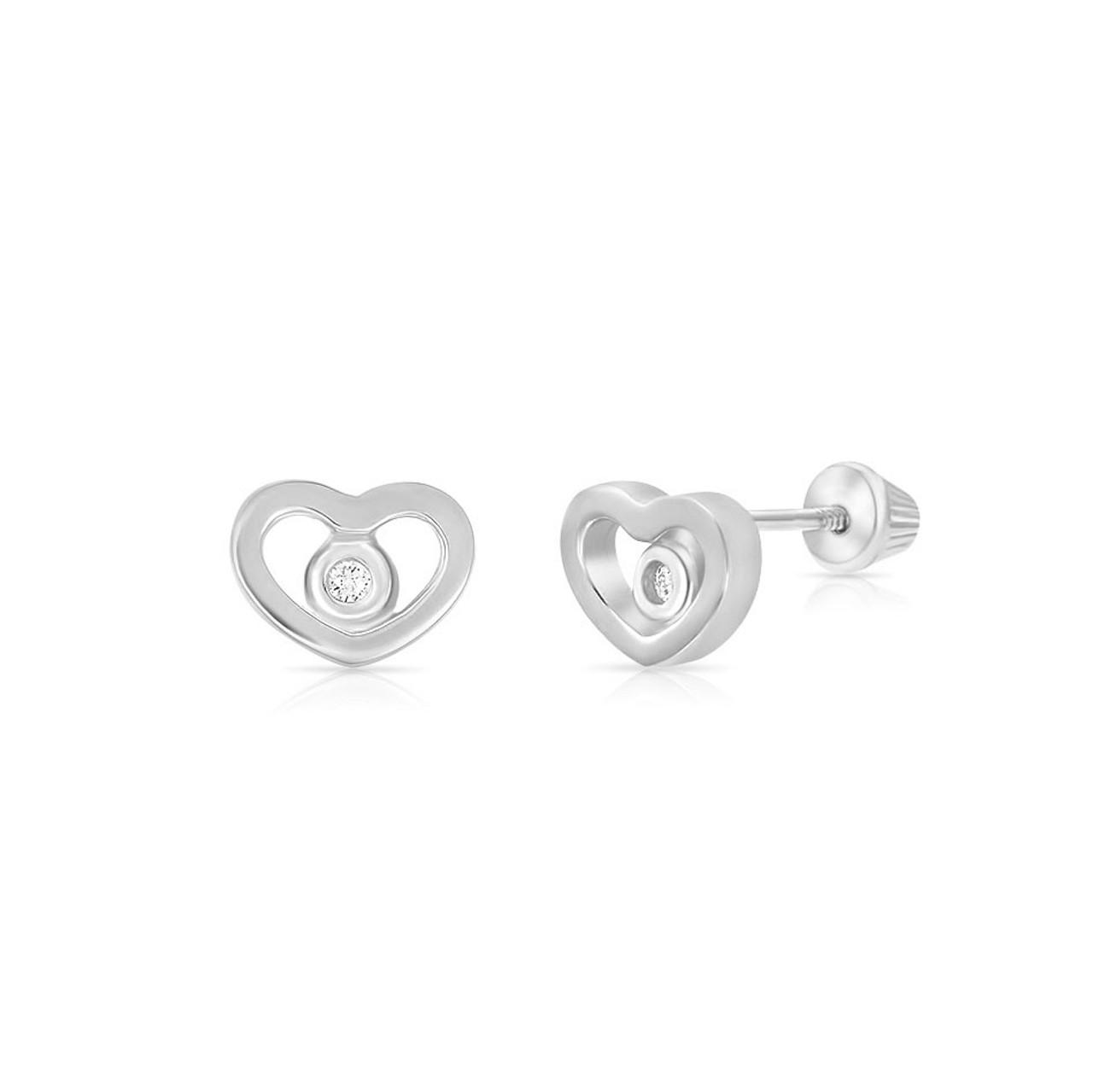 Forever Loved Diamond Heart Earrings Screw Back 14k White Gold The Jeweled Lullaby