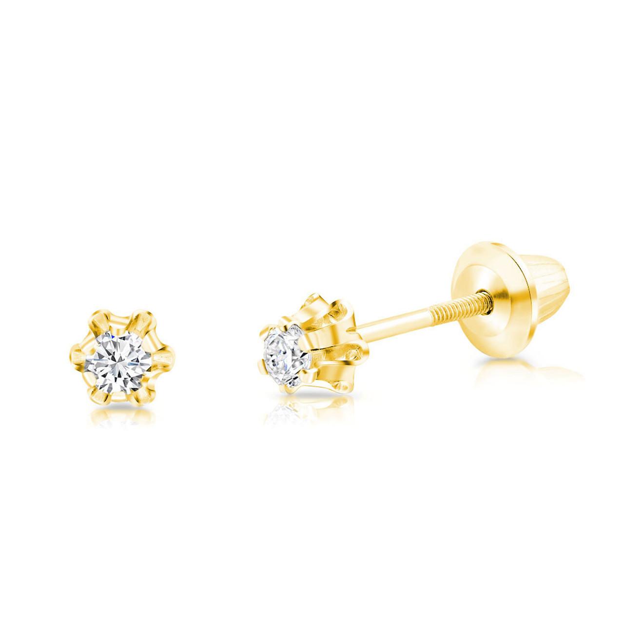 Children S Diamond Stud Earrings Screw Back 14tcw 14k Gold The Jeweled Lullaby