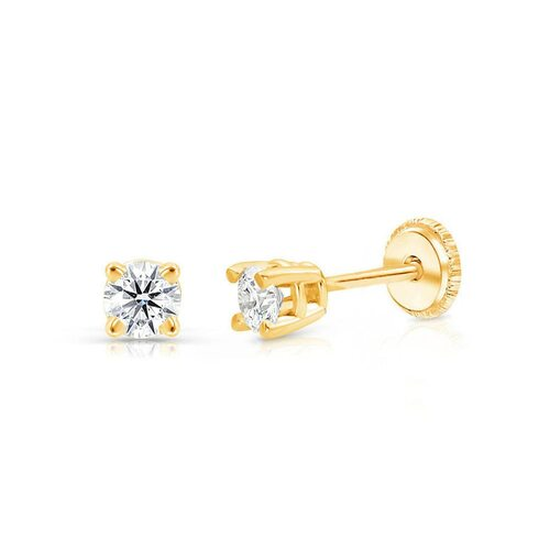 14K White Gold Children Earrings 4mm Plain Hollow Gold Ball Earrings with Screwback Round Ball Smooth Gold Dot Earrings Round Dot Earrings
