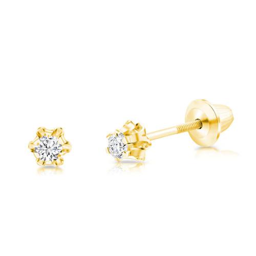 14K White Gold Genuine White Diamond Child/'s Lever Back Earrings .12ct 14K Girl/'s Diamond Earrings Kid/'s Gift Diamond Drop Earrings
