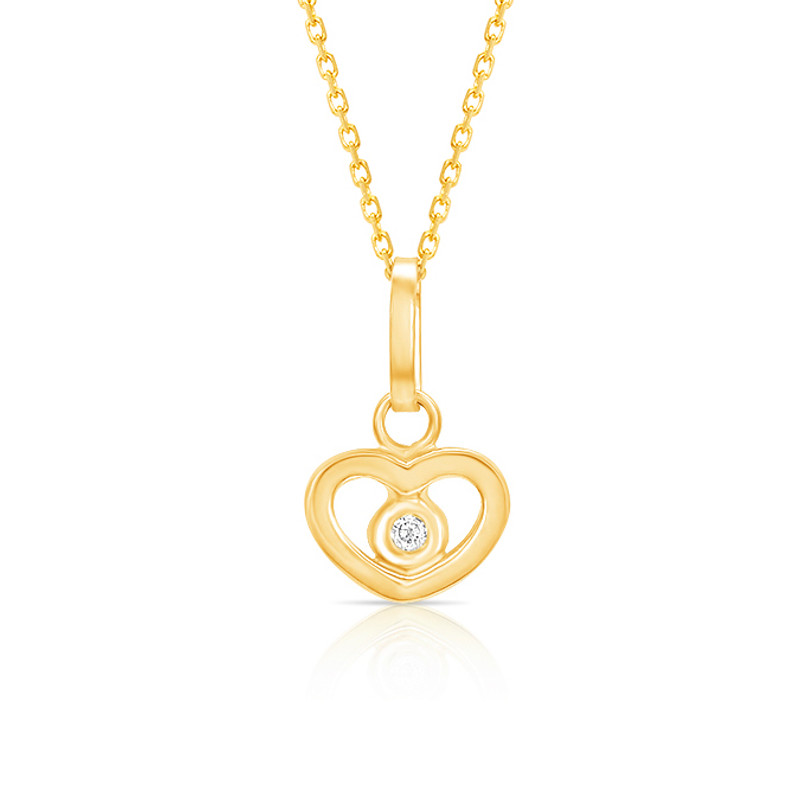 Forever Loved Girls Heart Necklace W Genuine Diamond 14k Gold The Jeweled Lullaby