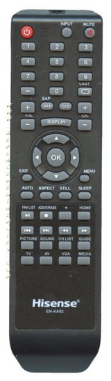 HISENSE ENKA92 TV Remote Control for 32H3E, 32D37, 32H3B1, 32H3B2, 32H3C, 40H3B, 40H3C, 40H3E  Compatible with TV models: 32D20, 32H3C, 32H3E, 40H3C, 40H3E