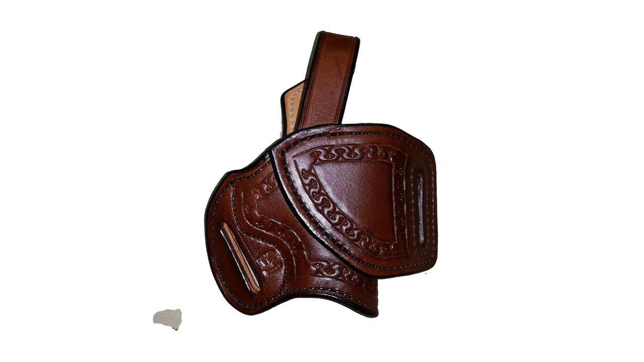 "This HF-2 holster has the following options: Dark brown ""Leather Color"", black ""Thread Color"", ""Fleur di Lis"" border stamping, ""Leather Lining"" and ""Texas Concho"". Price as shone: $225"