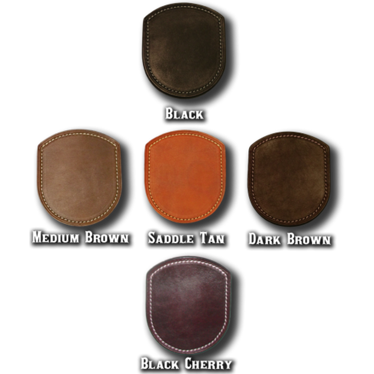 Leather color options. Two tone leather coloring options available. Just contact us for details.