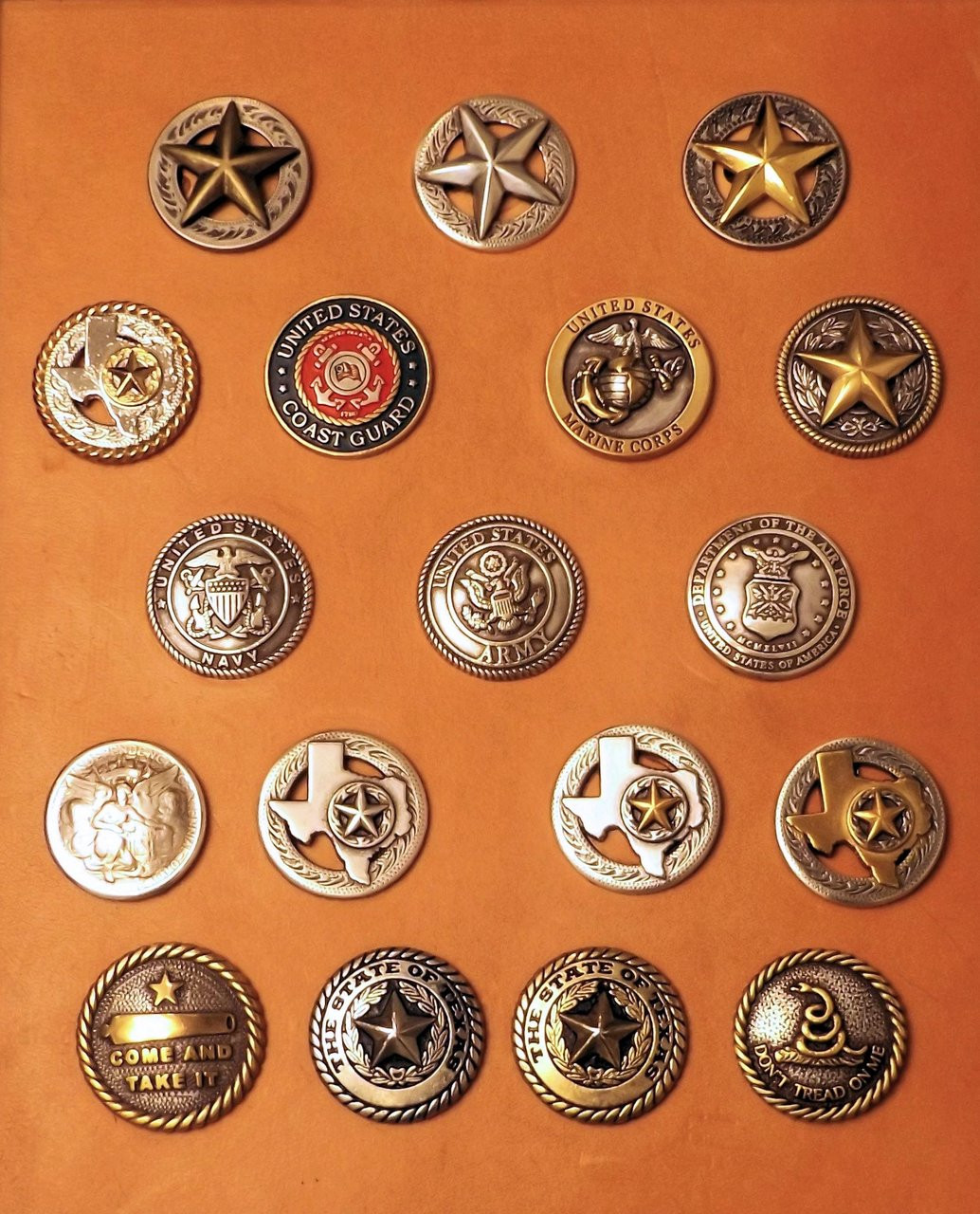 Standard conchos. High quality custom conchos available upon request or we can attach your own one.