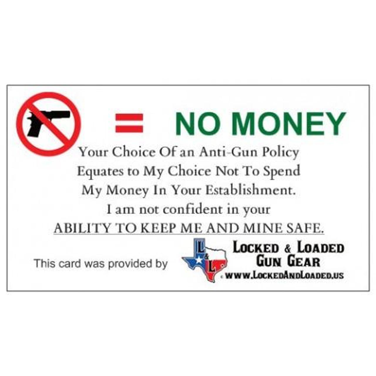 No Gun No Money Cards - Qty. 50
