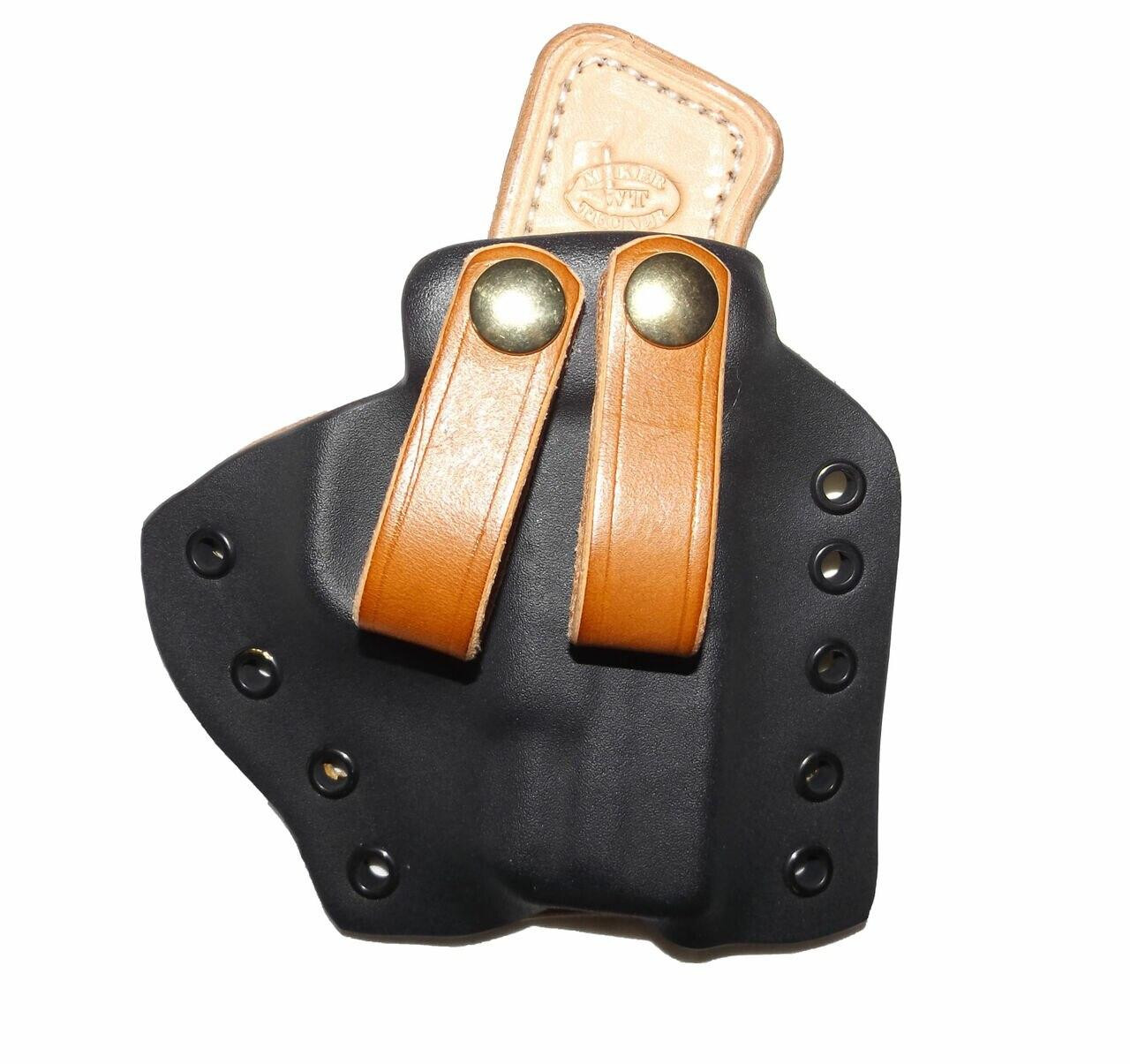 The Comfort Solution is very popular for use with smaller guns carried as appendix carry. However it can easily be carried in virtually any IWB location. The picture shown utilizes the leather belt snap. It is also available with a sturdy X-Clip at no extra charge or the Ultimate Belt Attachment at an additional fee.