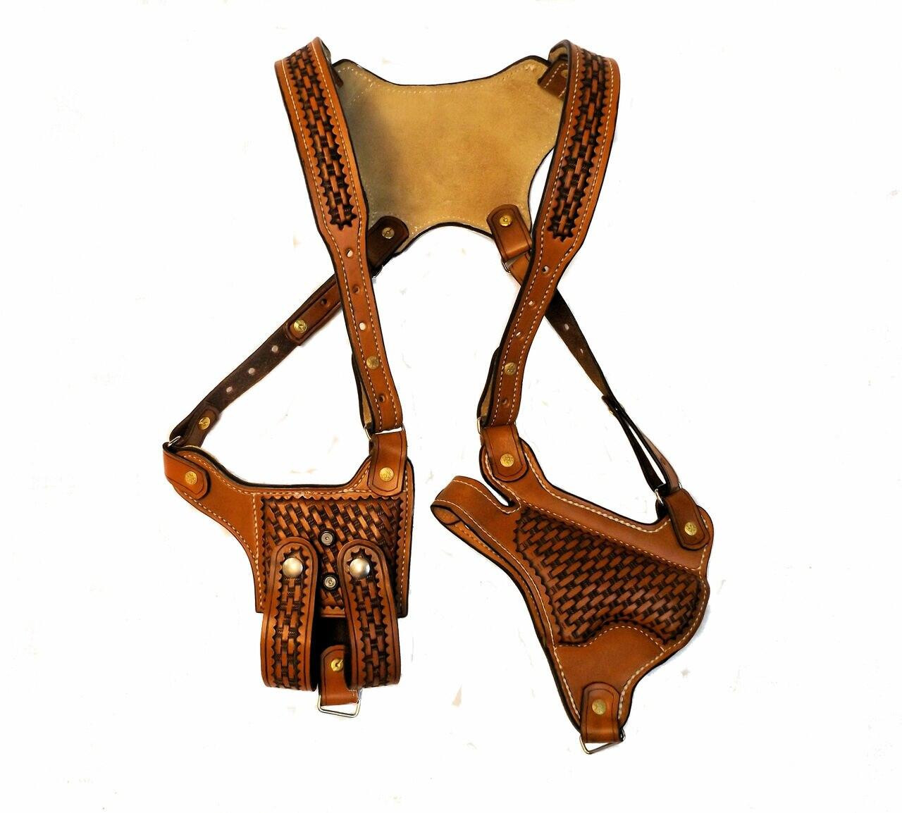 FRONT VIEW - This shoulder holster has basket weave stamping, is dyed saddle tan w/double magazine pouch, adjustable belt clips and has a large adjustment range. The width of the back plate is designed to keep the straps from rubbing your neck. It is suede lined for comfort and to help wick away sweat. Many other color and tooling options are available.