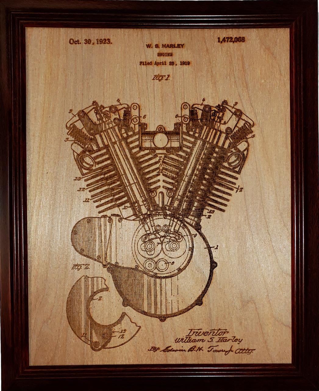 Framed laser art details of the Harley engine patent #1,472,068