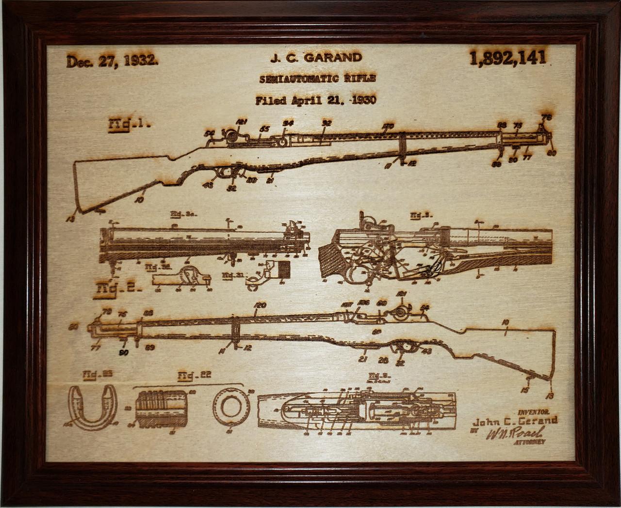Framed laser art details of the M-1 Garand patent #1,892,141
