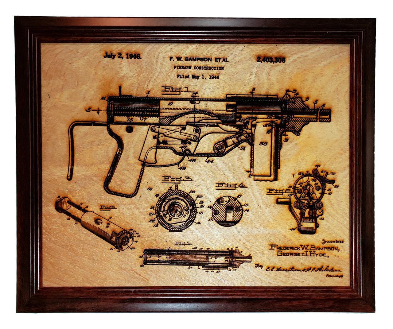 Framed laser art of the M-3 patent #2,403,306