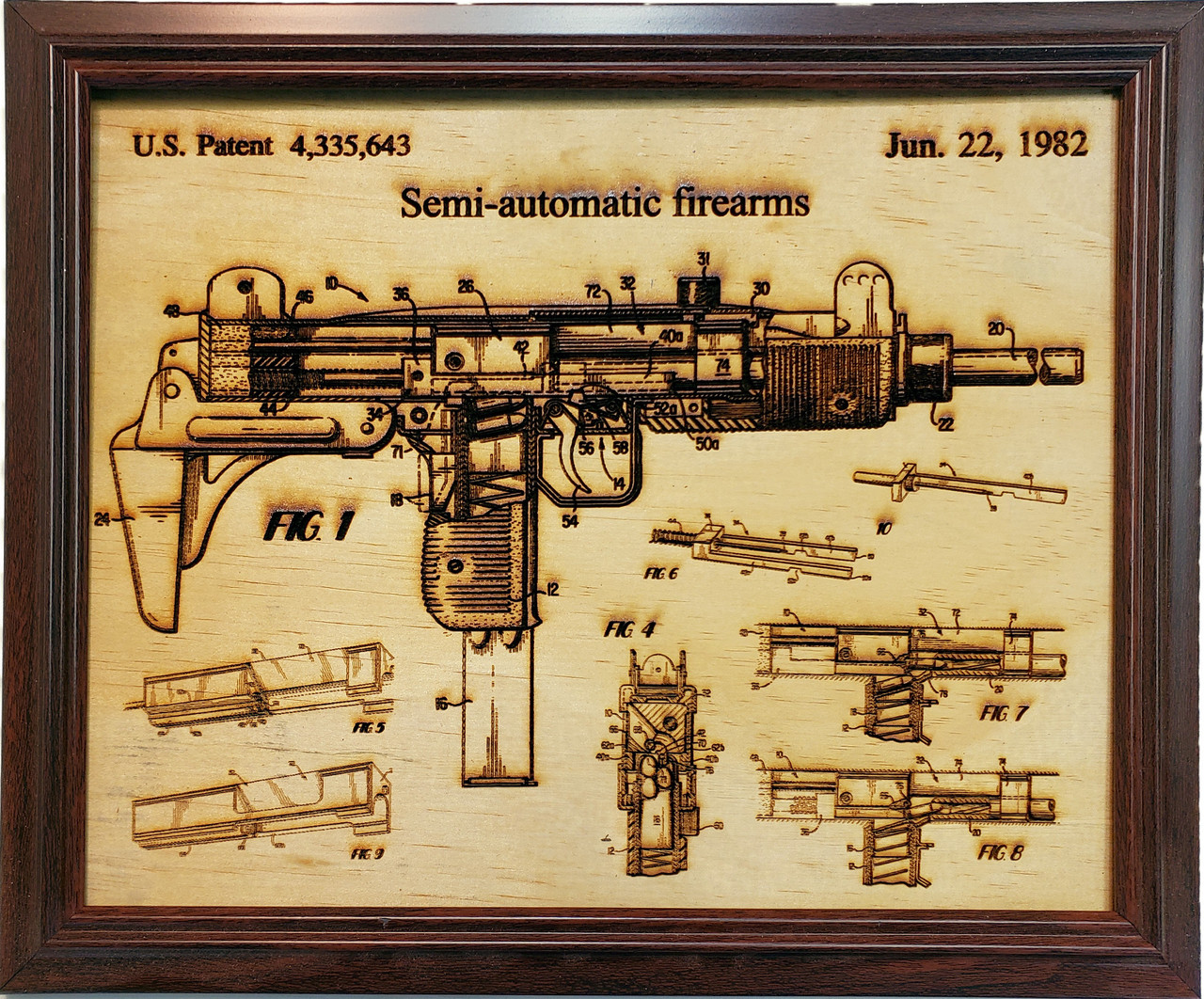 Framed laser art details of the UZI patent #4,335,643