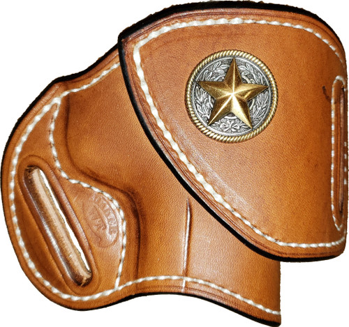 """This HF-2 holster has the following options: Brown """"Leather Color"""", white """"Thread Color"""",  """"Leather Lining"""" and """"Star Concho"""". Price as shone: $150"""