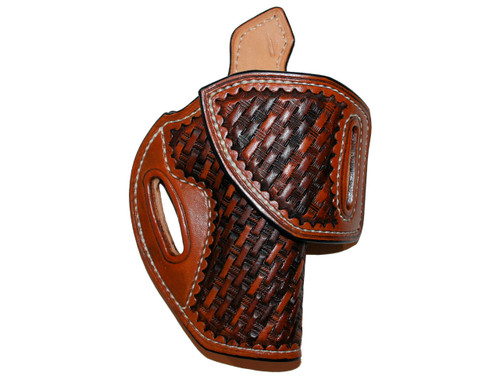 "HF-1 for 1911 5 Inch  Right hand, Leather lined, Sweat tab, 1-1/2"" belt, Medium brown, Multi-color basket weave stamping"