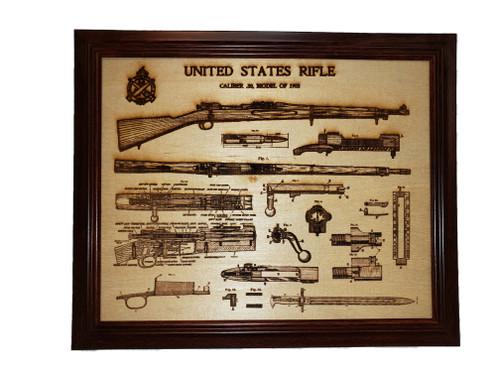 Framed laser art details of  1903  Springfield rifle