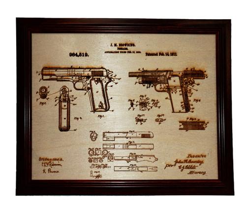 Framed laser art of 1911 Pistol Patent #984,519