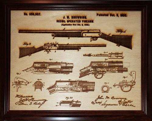 Framed laser art details of the J.M. Browning's Auto 5 shotgun patent #659,507