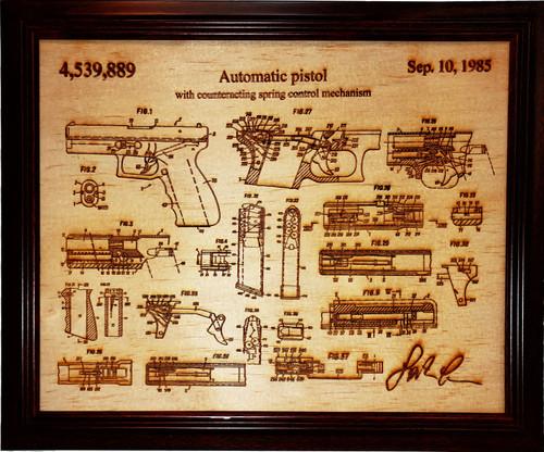 Framed laser art details of the Glock pistol patent #4,539,889