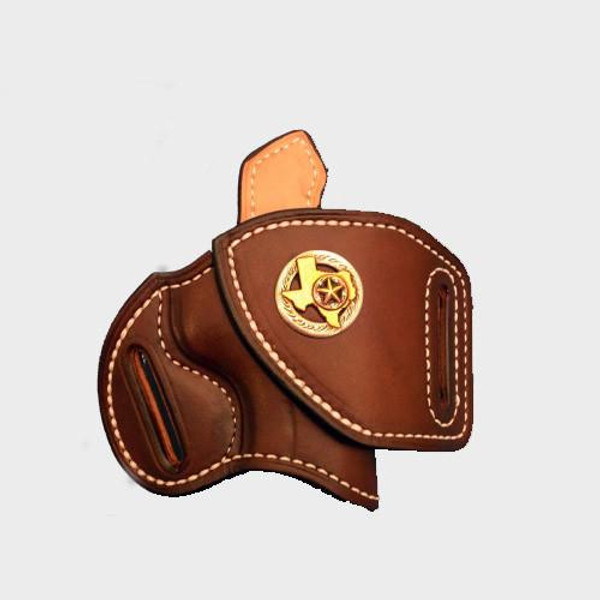 """This HF-2 holster has the following options: Brown """"Leather Color"""", white """"Thread Color"""",  """"Sweat Shield"""", """"Leather Lining"""" and """"Texas Concho"""". Price as shone: $165"""