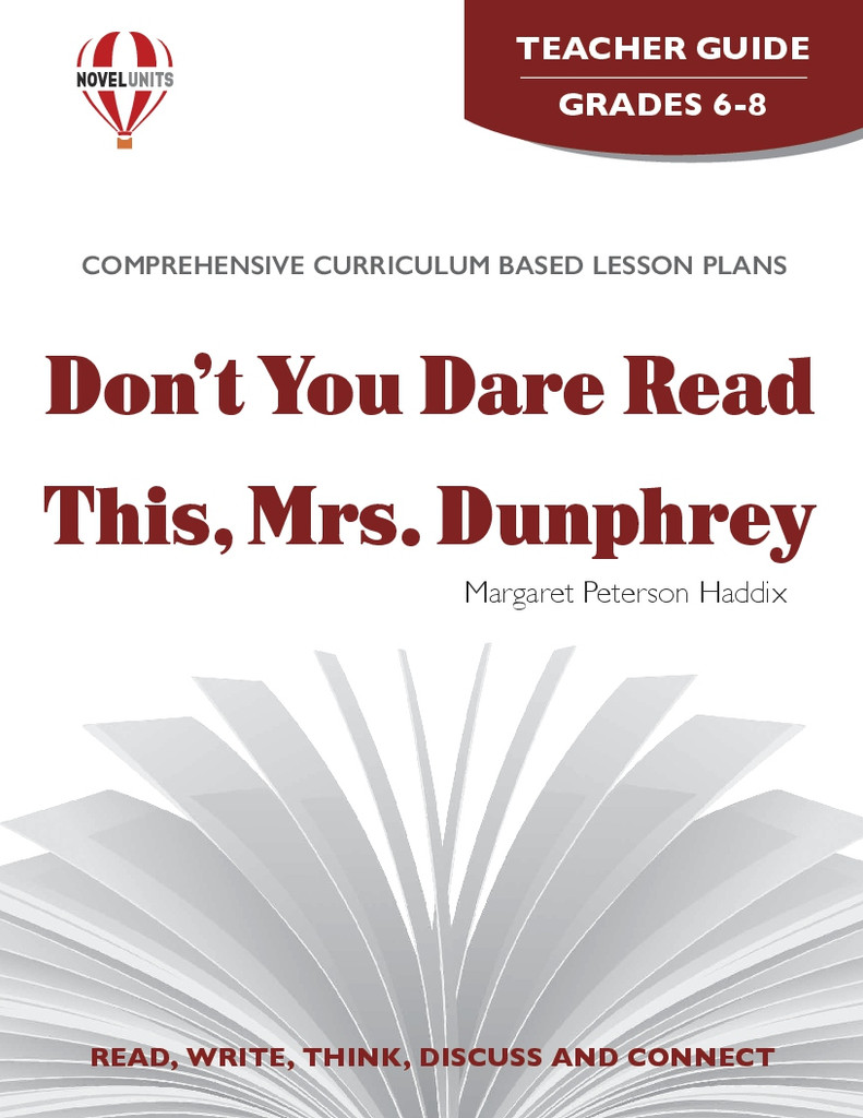 Don't You Dare Read This Mrs. Dunphrey Novel Unit Teacher Guide