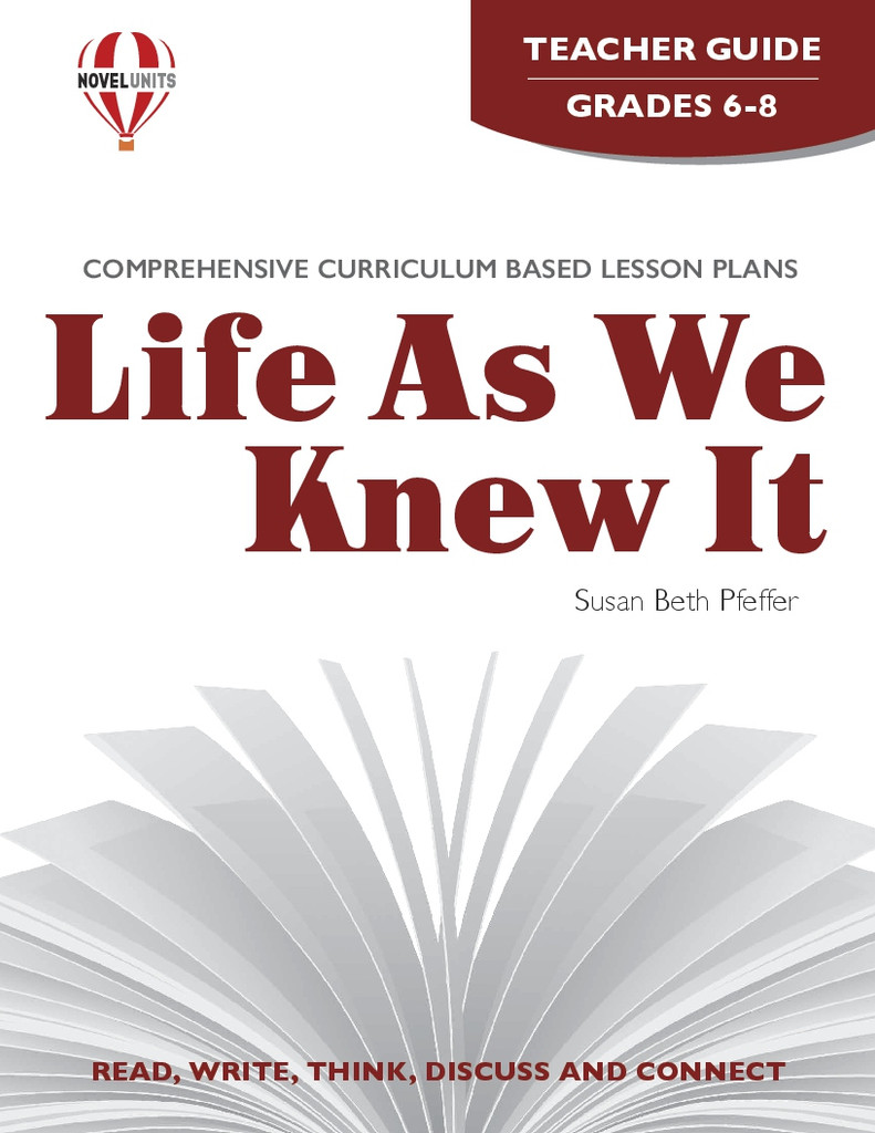 Life As We Knew It Novel Unit Teacher Guide