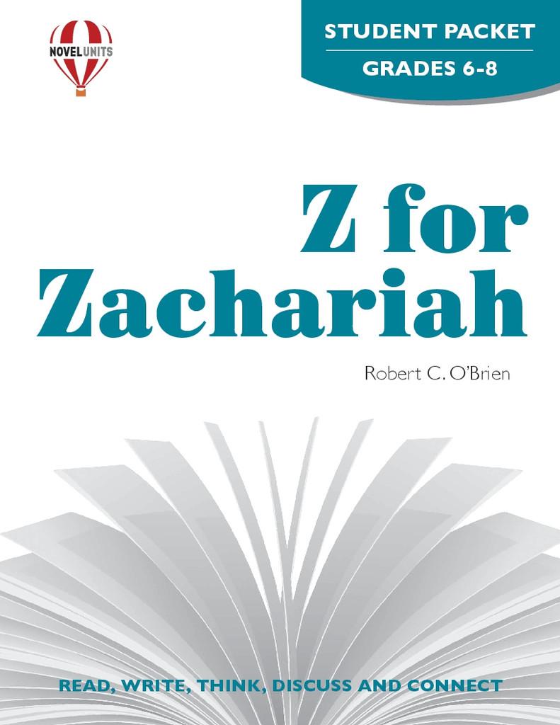Z For Zachariah Novel Unit Student Packet PDF Download