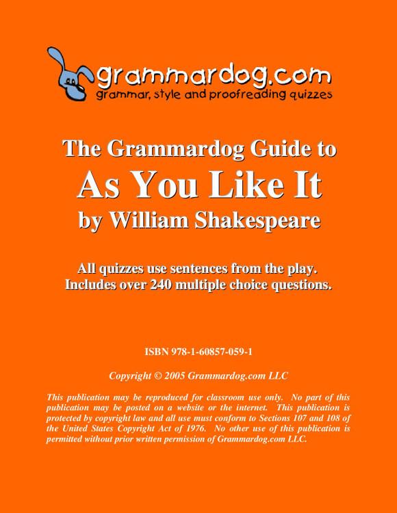 As You Like It Grammardog Guide