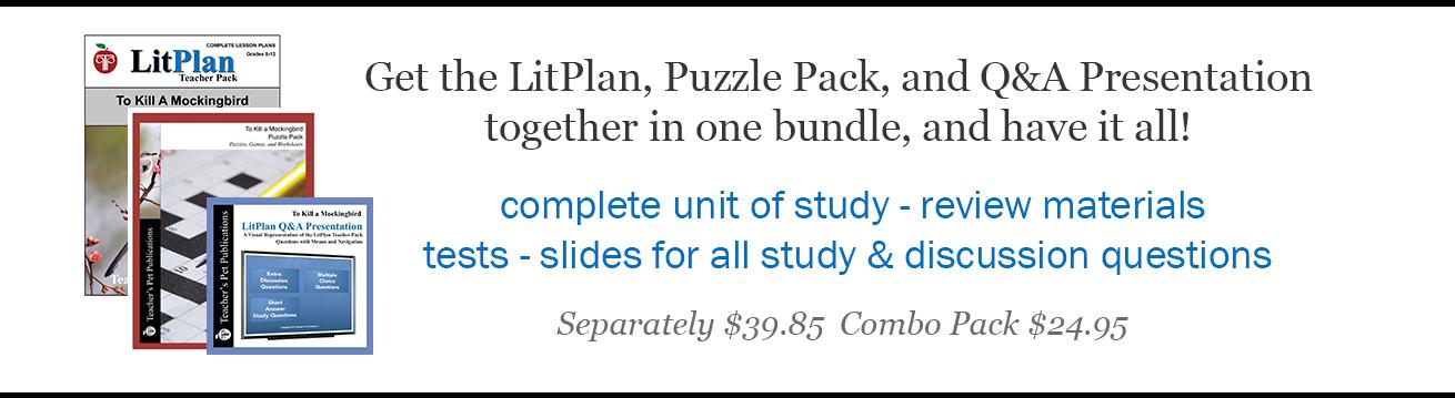 Combo Packs - LitPlan Novel Unit plus Puzzle Pack and Slide Presentation