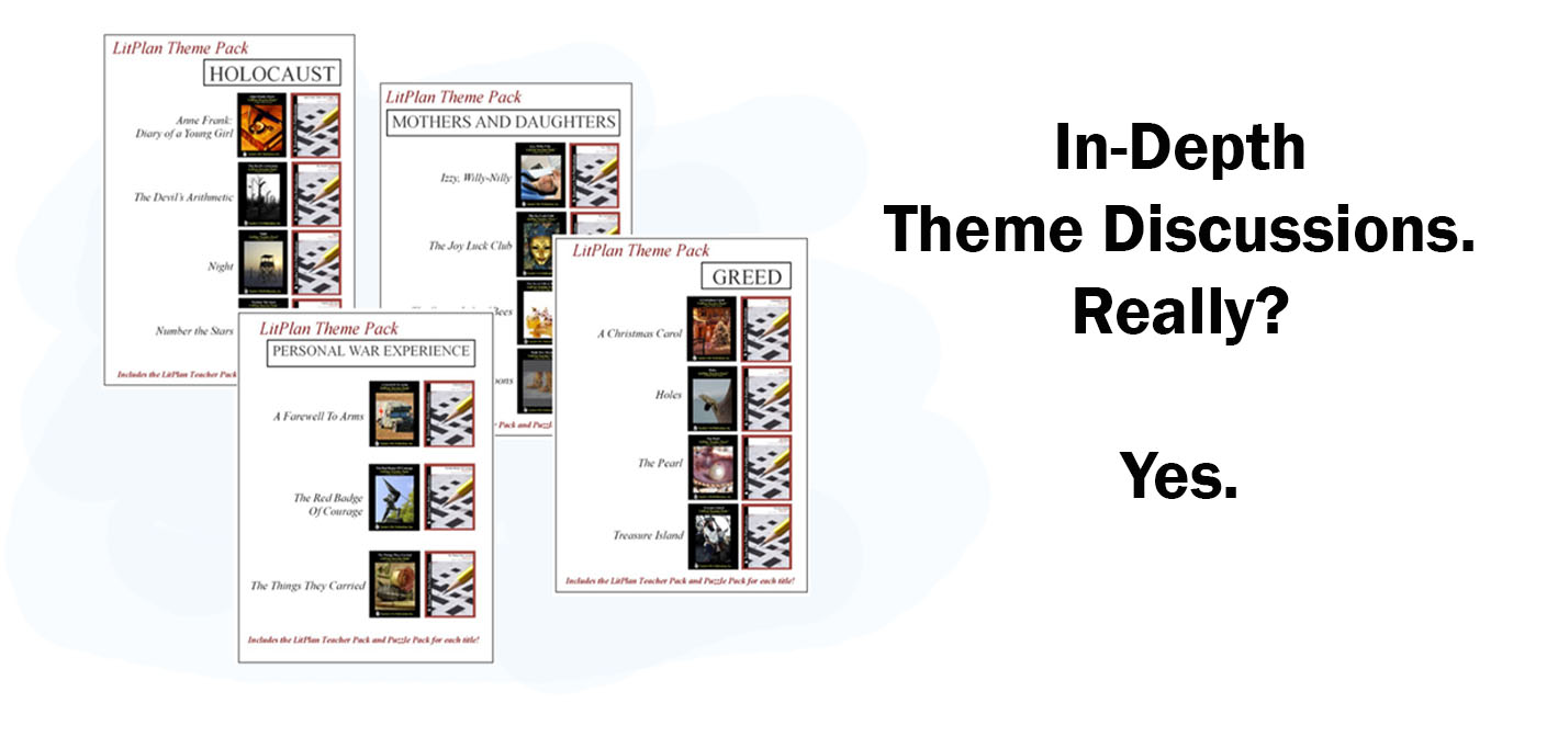 Our Novel Unit Theme Packs have complete resources for teaching 3 or 4 different novels that all have the same theme(s). Great for differentiating instruction and literature circles!
