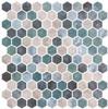 Bella Glass Tiles Karma Ridge Hexagon Mosaic Lotus Pond KR1405