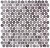 Bella Glass Tiles Carolina Dots Penny Round Mosaic Herrera Grafite CAR2015