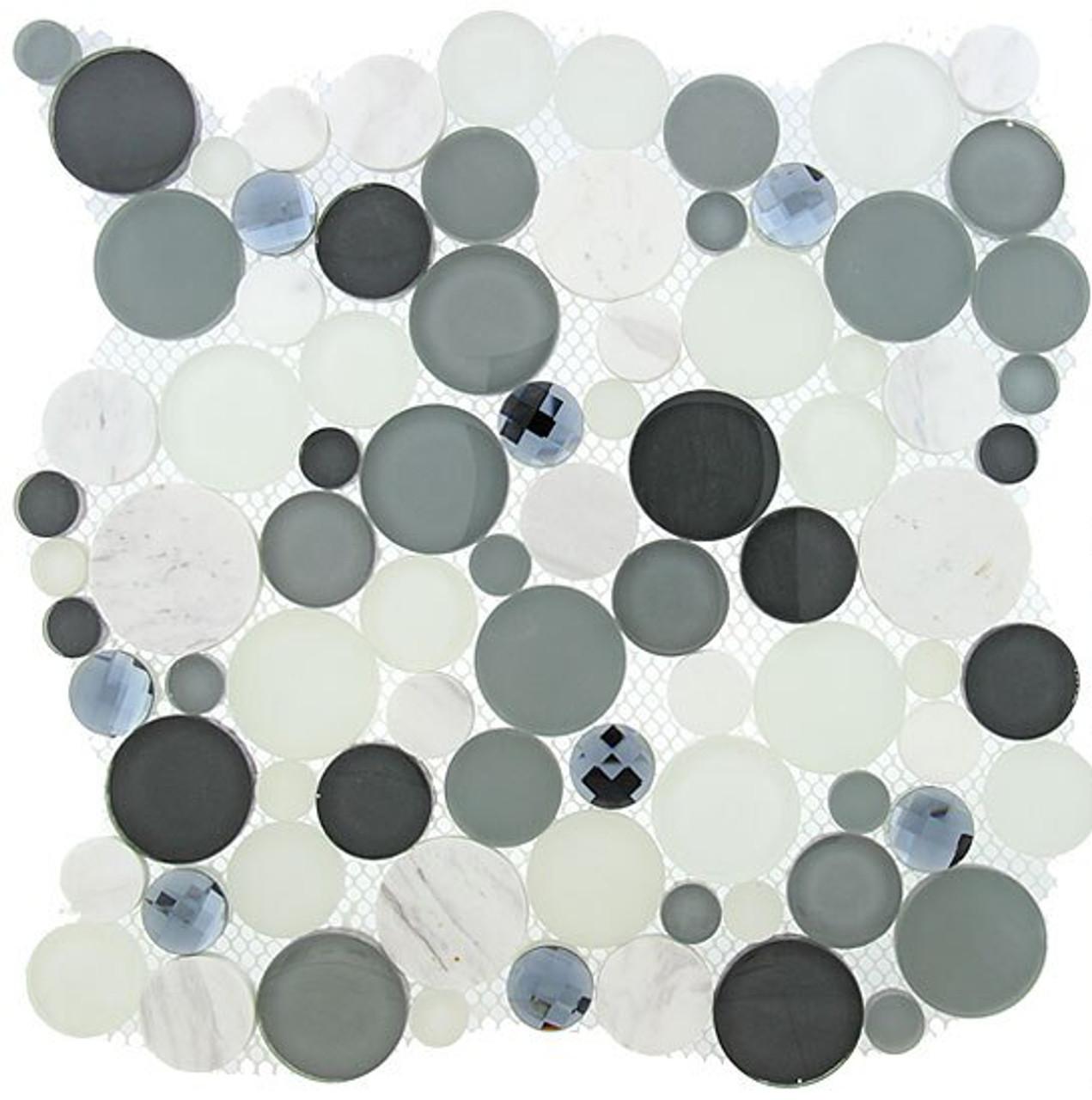 Bella Glass Tiles Symphony Bubble Series Grey Fizz