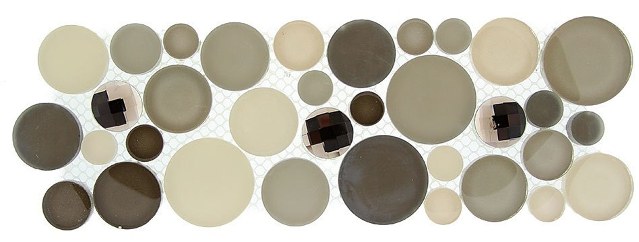 Bella Glass Tiles Symphony Bubble Series Listello Platinum Foam