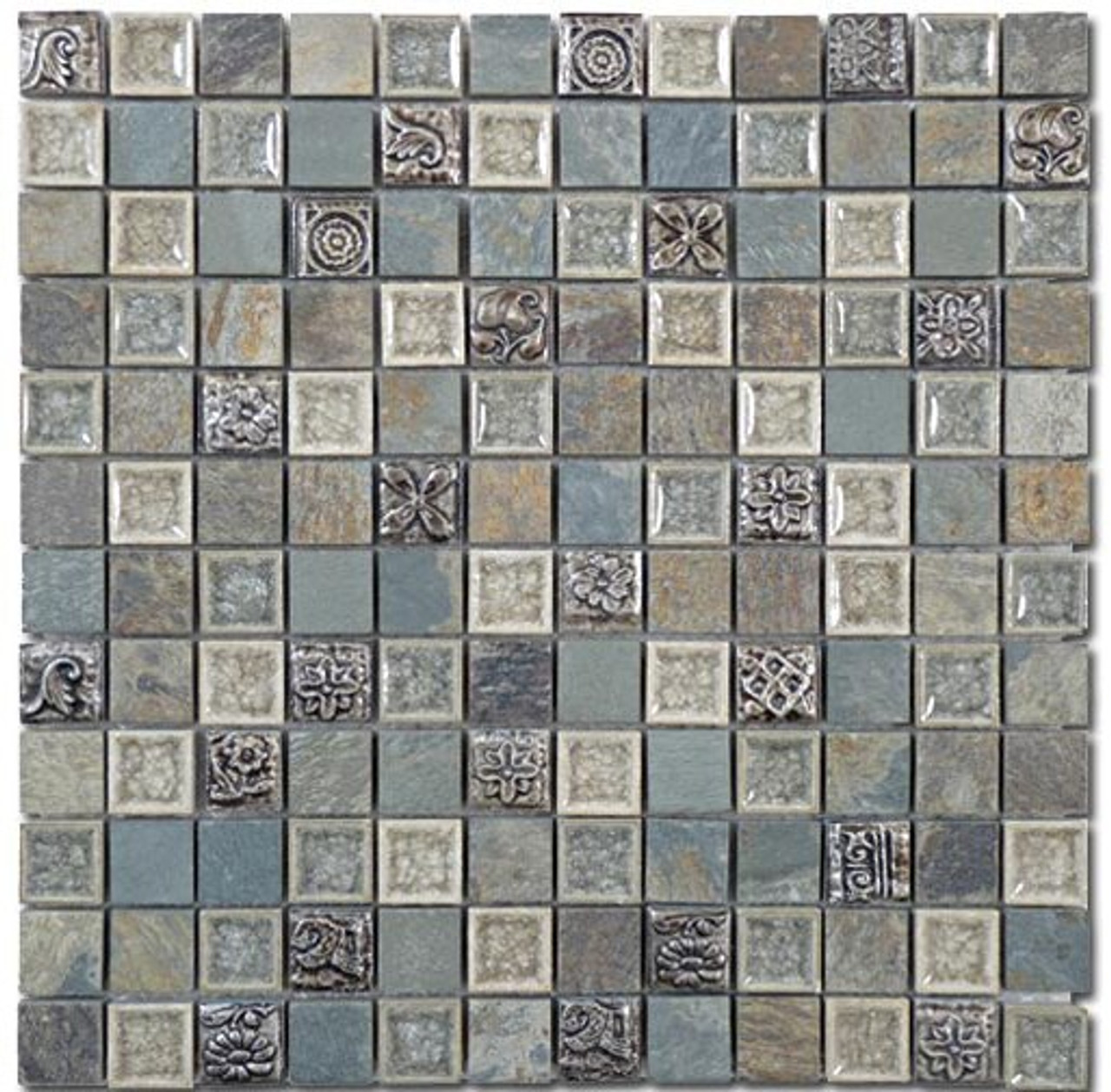 Bella Glass Tiles Tranquil Series 1 x 1 Methodical Grey