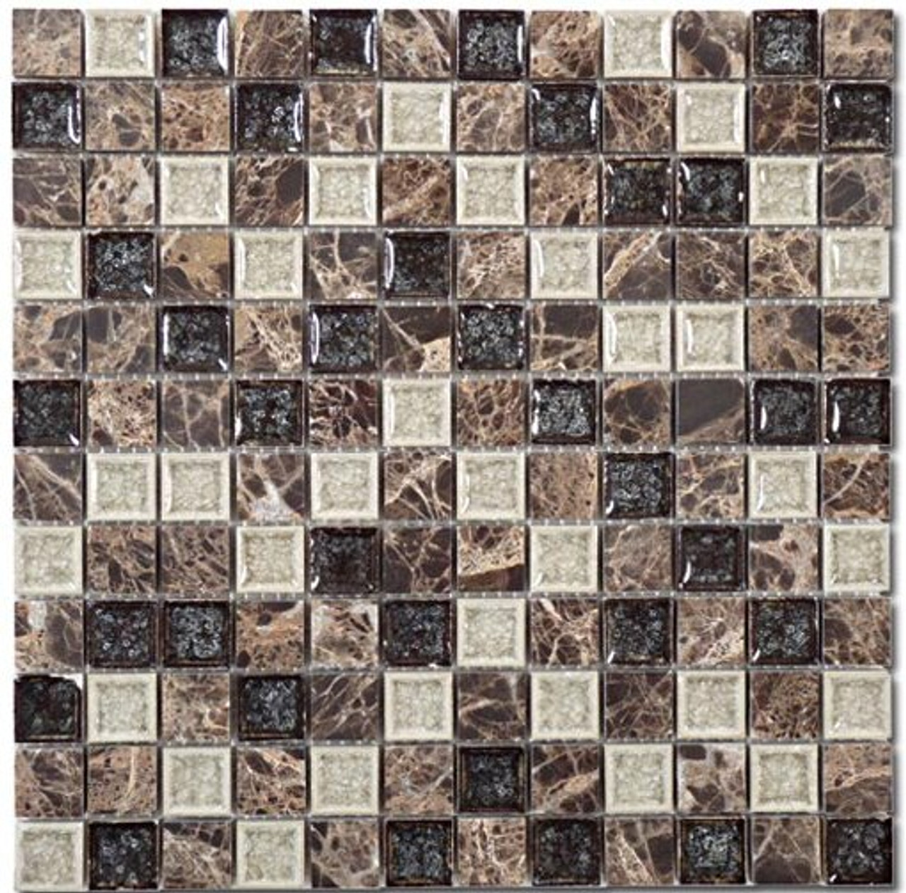 Bella Glass Tiles Tranquil Series 1 x 1 Chocolate Blend