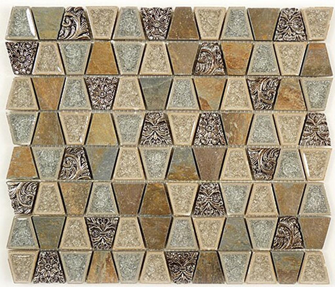 Bella Glass Tiles Tranquil Series Trapezoid Soft Mushroom