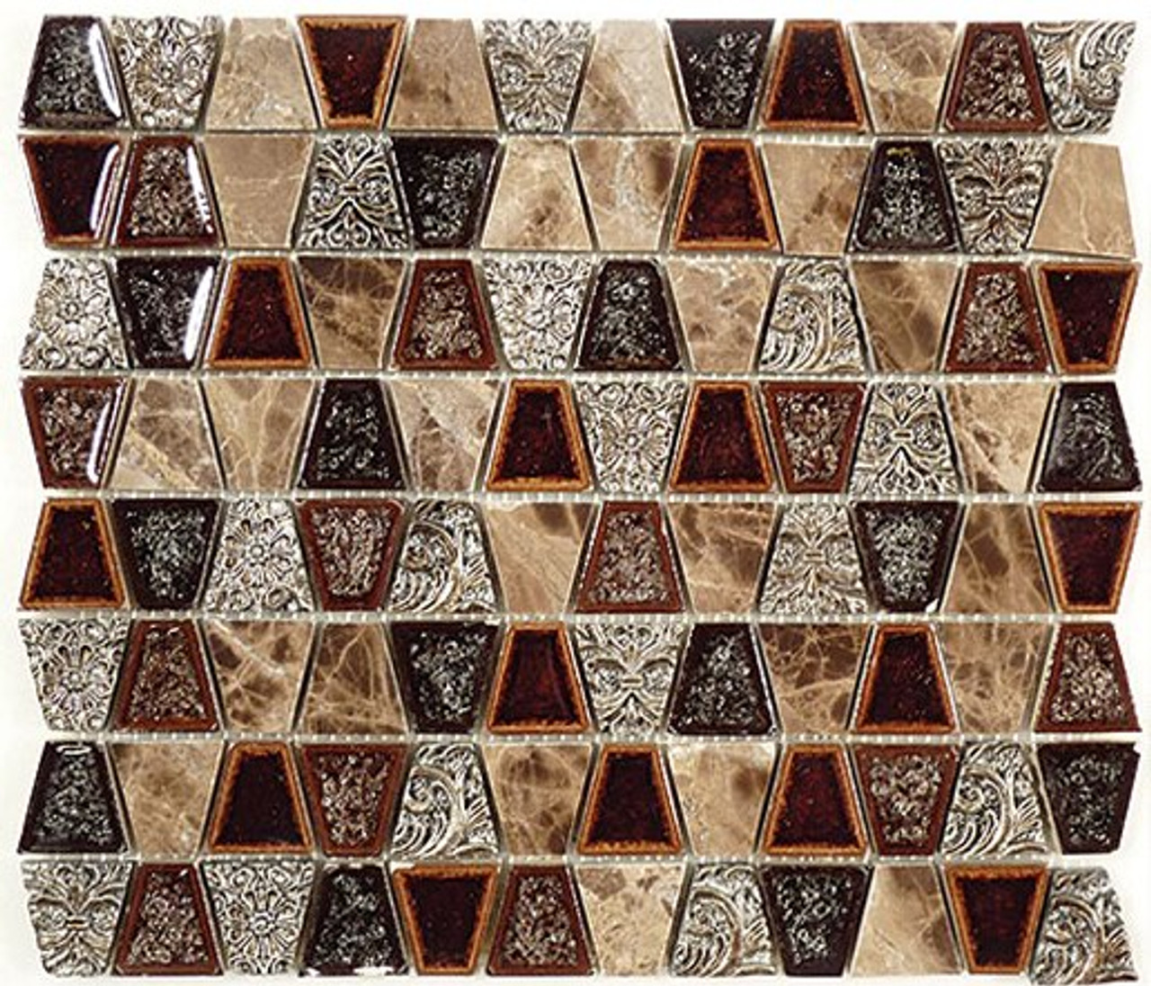 Bella Glass Tiles Tranquil Series Trapezoid Native Tortoise