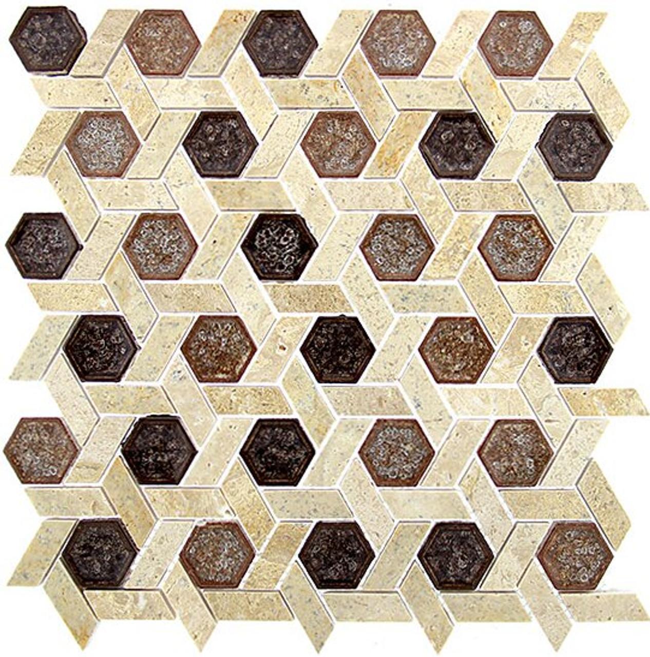 Bella Glass Tiles Tranquil Series Hexagon Jerusalem Garden