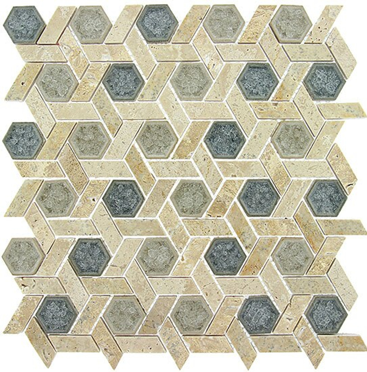 Bella Glass Tiles Tranquil Series Hexagon Mansion Drive