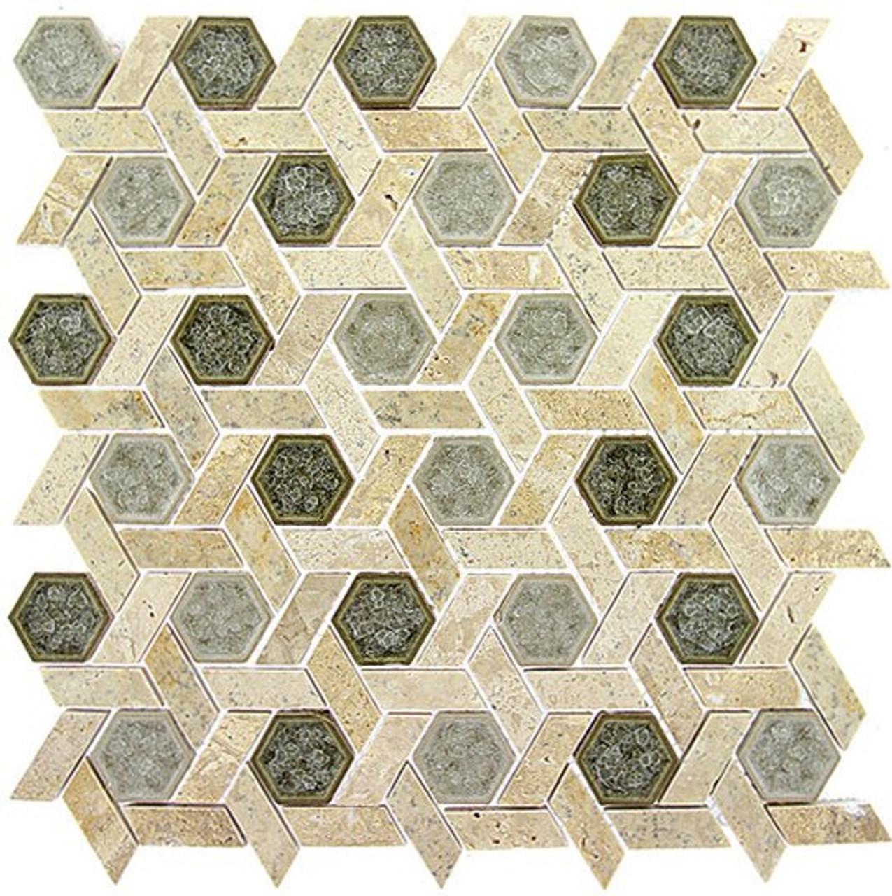 Bella Glass Tiles Tranquil Series Hexagon Olympus Shade