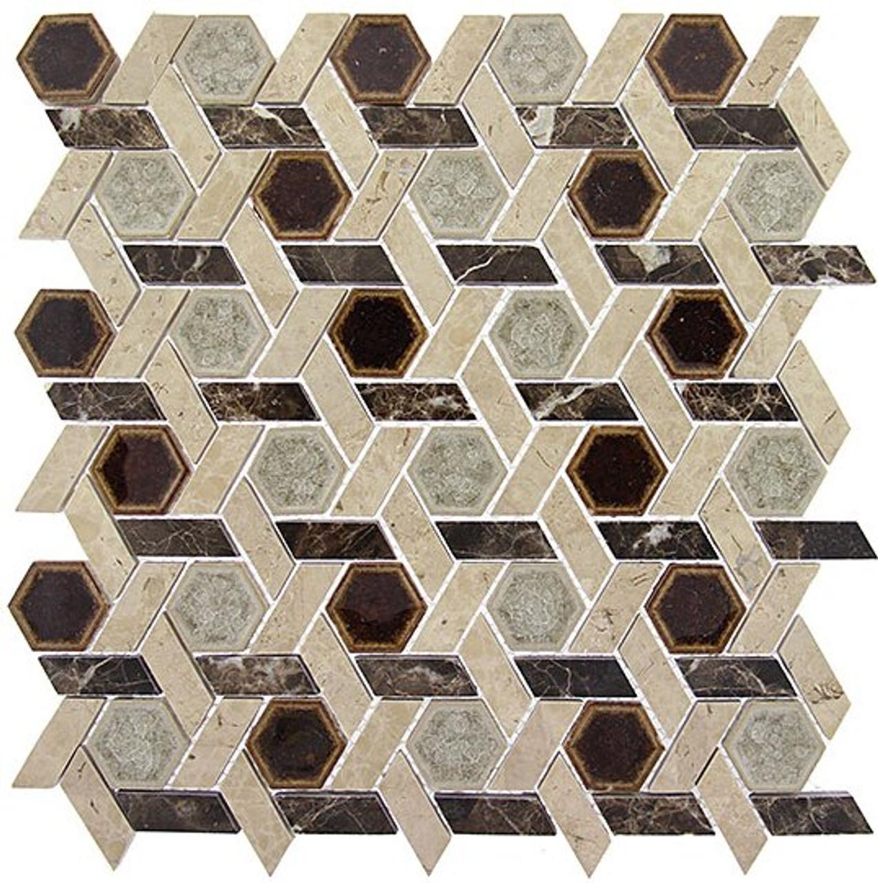 Bella Glass Tiles Tranquil Series Hexagon Temple Inspiration