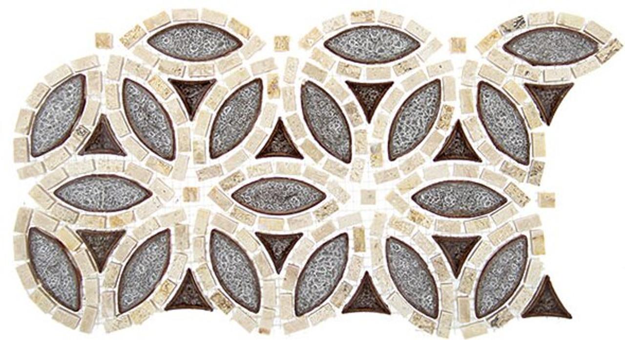 Bella Glass Tiles Tranquil Series Flower Roman Bloom