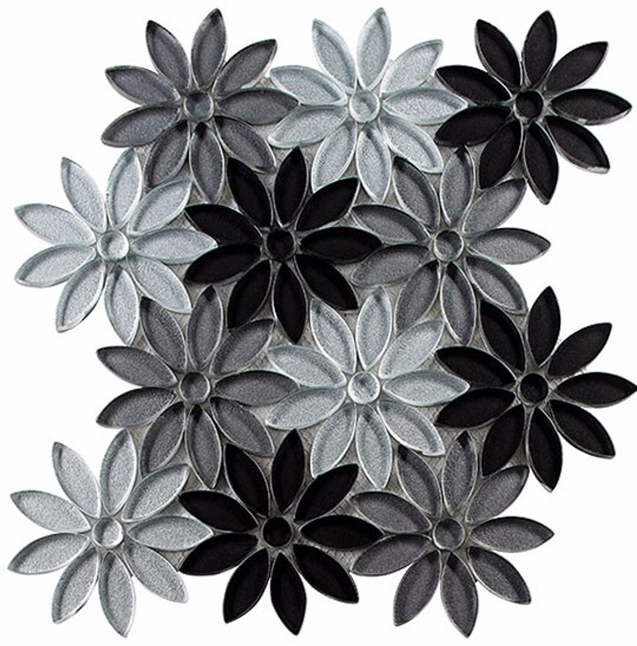 Bella Glass Tiles Bouquette Series Floral Greys